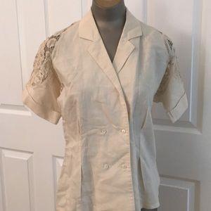 Nancy Johnson beige ramie cotton blouse 80s
